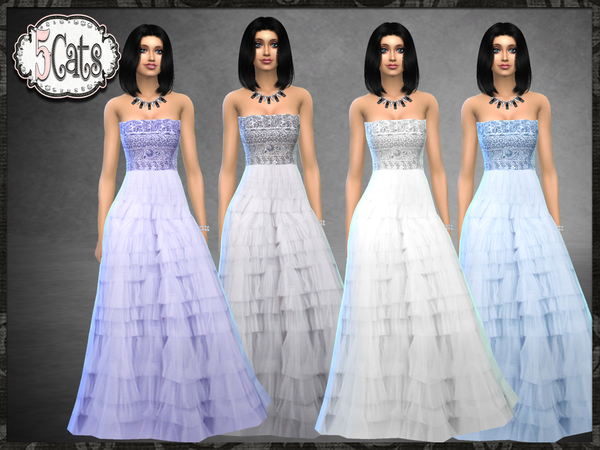 Sims 4 Strapless Beaded Bodice Layered Tulle Skirt by Five5Cats at TSR