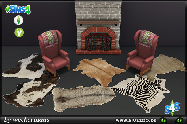 Sims 4 Christmas fur rugs by weckermaus at Blacky's Sims Zoo