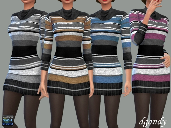 Striped Cowl Neck Sweater Dress by dgandy at TSR image 940 Sims 4 Updates
