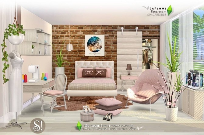 Lafemme bedroom first part at simcredible designs 4 for Bedroom designs sims 4