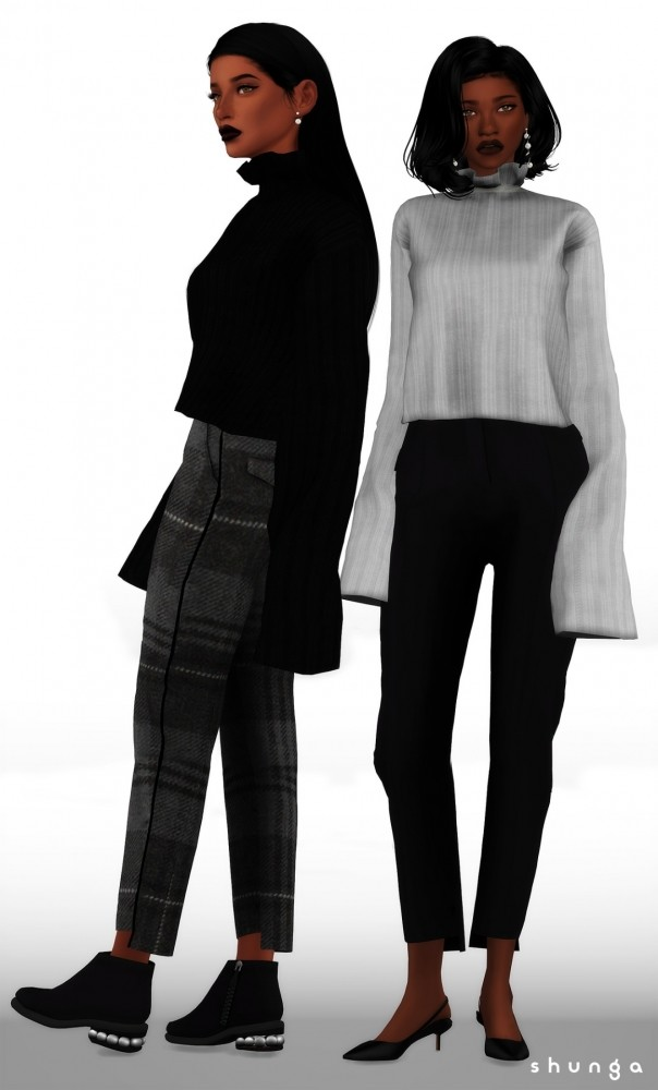 Sims 4 Stepped Hem Trousers & High Neck Sweater at Shunga