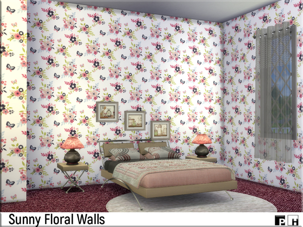 Sims 4 Sunny Flower Walls by Pinkfizzzzz at TSR