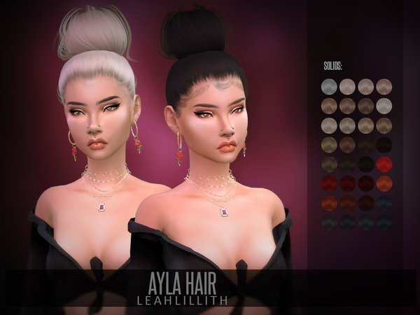 Sims 4 Ayla Hair by Leah Lillith at TSR