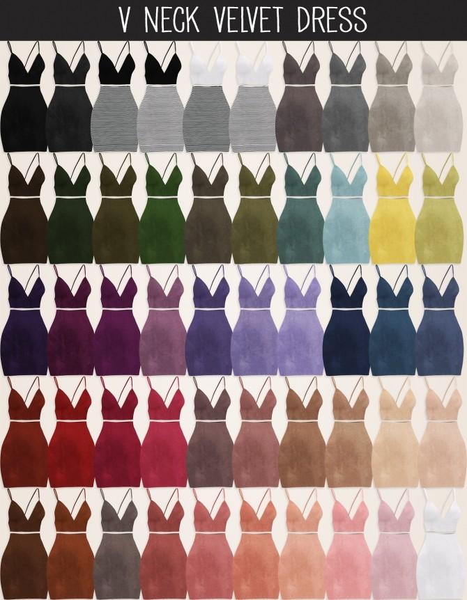Sims 4 V Neck Velvet Dress (P) at Elliesimple