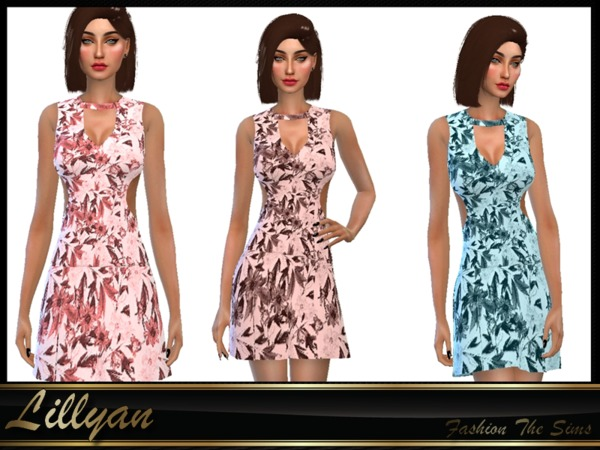 Sims 4 Dresses floral by LYLLYAN at TSR