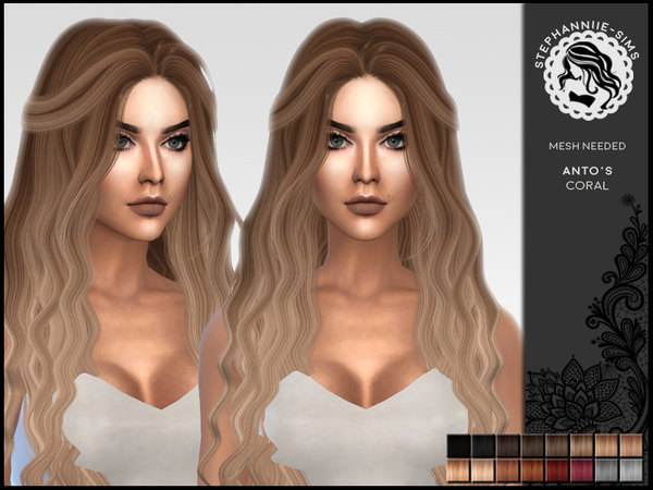 Sims 4 Antos Coral hair retexture by Stephanniie Sims at TSR