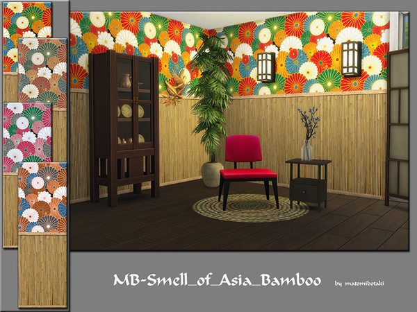 MB Smell of Asia Bamboo wall by matomibotaki at TSR image 1140 Sims 4 Updates