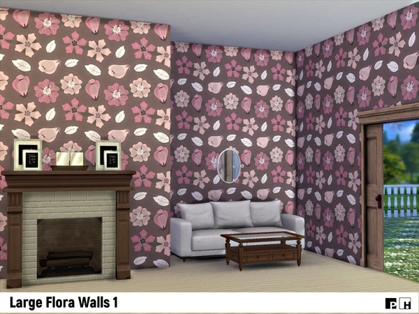 Large Flora Walls 1 by Pinkfizzzzz at TSR image 1150 Sims 4 Updates