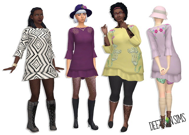 Sims 4 Darling Dropwaist Dress at Deetron Sims