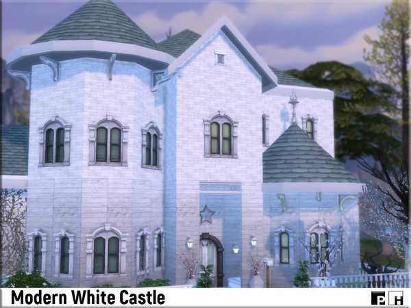 Sims 4 Modern White Castle by Pinkfizzzzz at TSR