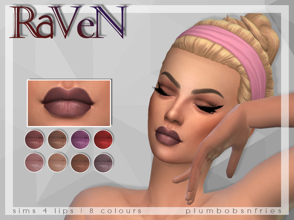 PnF Raven Lips by Plumbobs n Fries at TSR image 1240 Sims 4 Updates