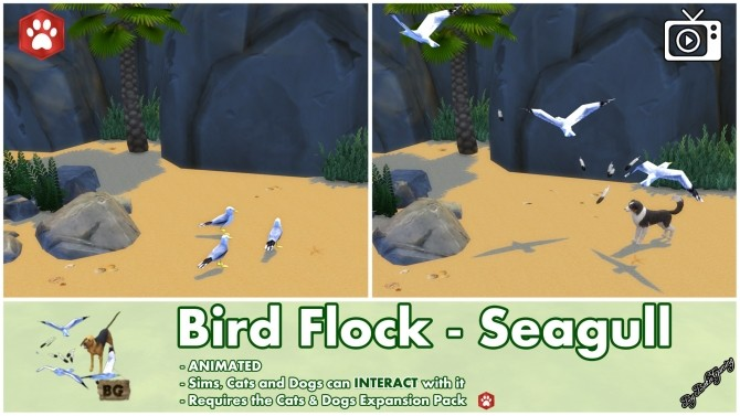 Sims 4 Bird Flock Spawner Seagull Interactive by Bakie at Mod The Sims