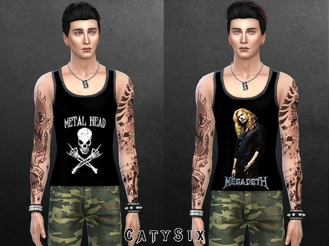 Sims 4 Metal Tank Tops V1 at CatySix