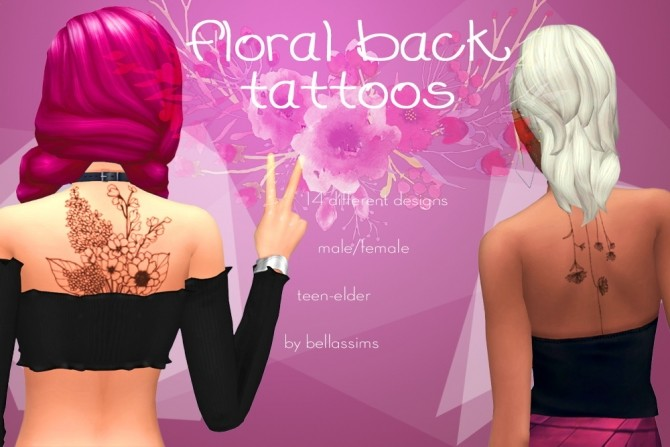 Floral back tattoos at Bellassims image 1405 670x447 Sims 4 Updates