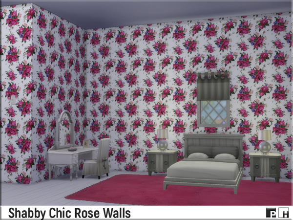 Shabby Chic Rose Walls by Pinkfizzzzz at TSR image 1410 Sims 4 Updates