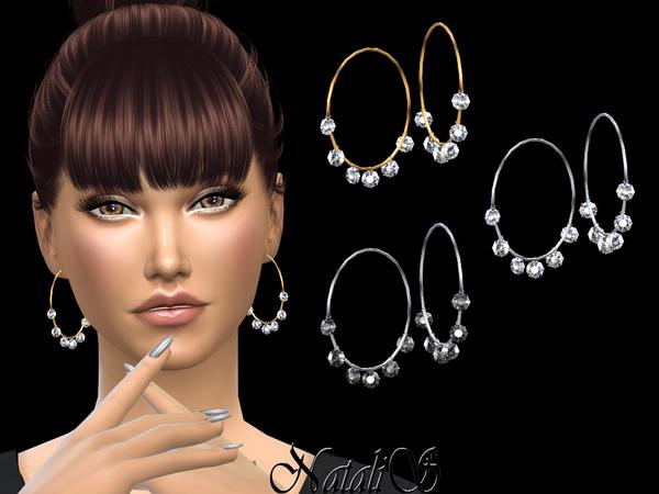 Sims 4 Multi crystals pendants hoop earrings by NataliS at TSR