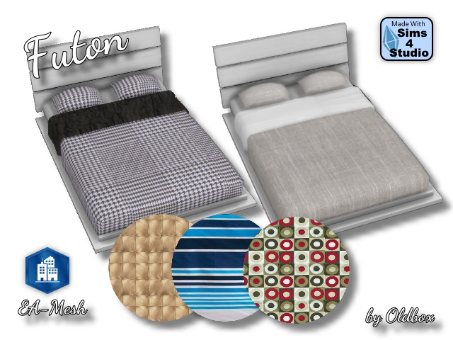 Sims 4 Futon bed by Oldbox at All 4 Sims