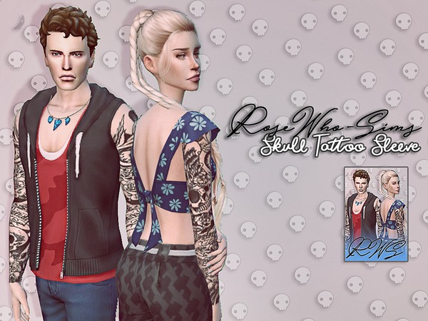 Skull Tattoo Sleeve by RoseWho Sims at TSR image 1454 Sims 4 Updates