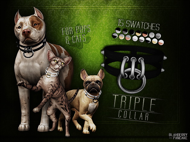 Sims 4 Triple Collar for pups & cats at Blahberry Pancake