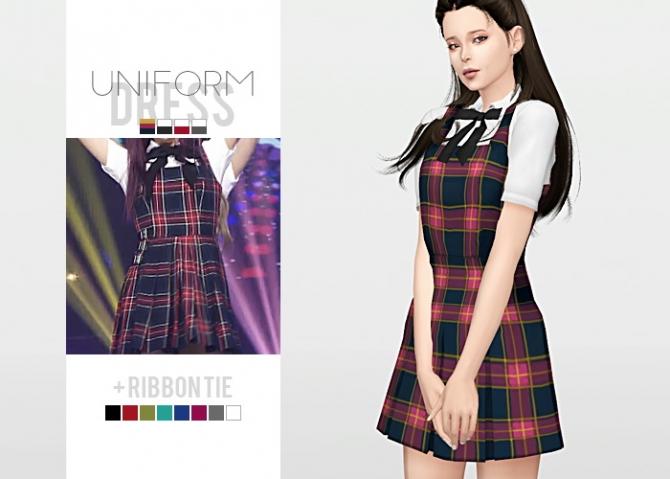 Uniform Dress Ribbon Tie At Waekey 187 Sims 4 Updates