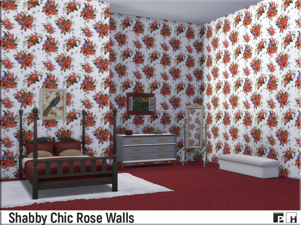 Shabby Chic Rose Walls by Pinkfizzzzz at TSR image 1510 Sims 4 Updates