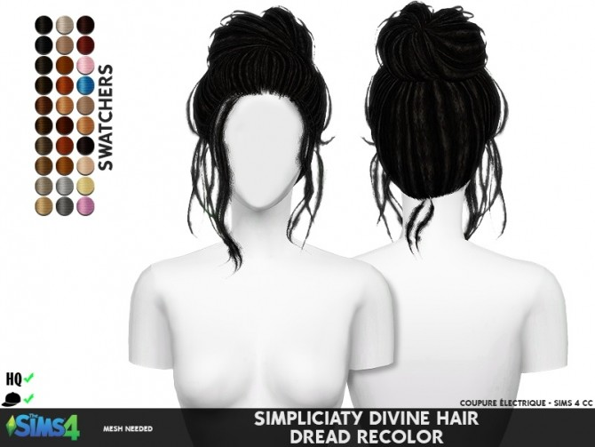 Sims 4 SIMPLICIATY DIVINE HAIR DREAD RECOLOR at REDHEADSIMS
