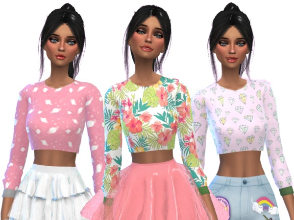 Tumblr Themed Crop Tops Pack Two by Wicked Kittie at TSR image 1523 Sims 4 Updates