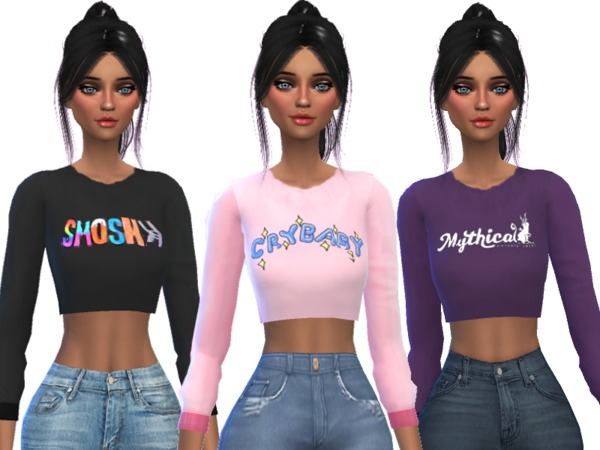 Tumblr Themed Crop Tops Pack Two by Wicked Kittie at TSR image 1533 Sims 4 Updates