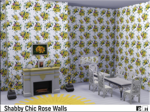 Shabby Chic Rose Walls by Pinkfizzzzz at TSR image 1610 Sims 4 Updates