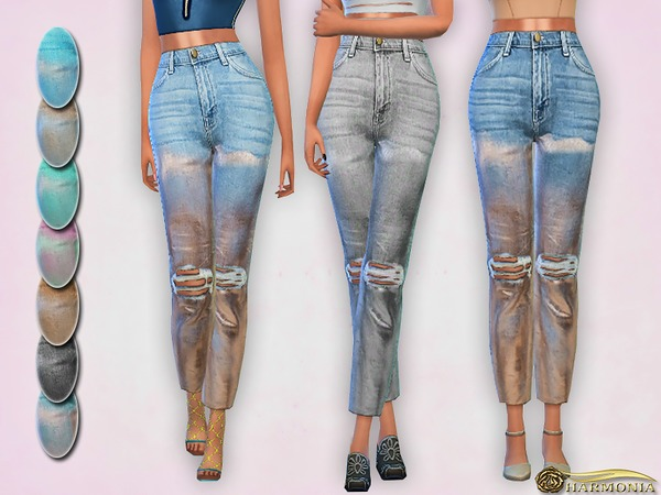 Sims 4 High rise Distressed Foil Jeans by Harmonia at TSR