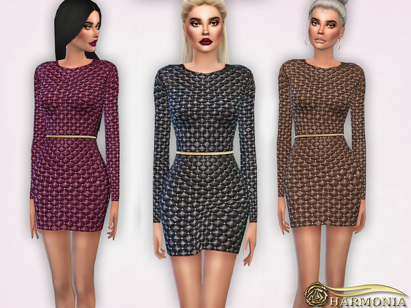 Studded quilted Leather Dress by Harmonia at TSR image 1717 Sims 4 Updates