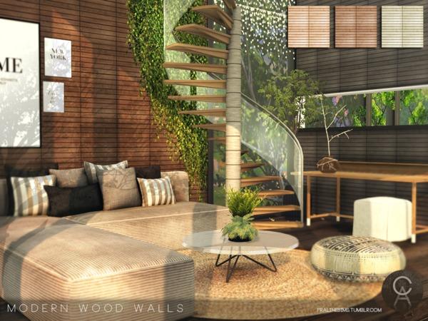 Sims 4 Modern Wood Walls by Pralinesims at TSR
