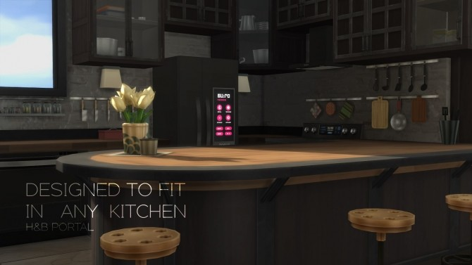 Sims 4 H&B Portal Expensive Refrigerator by littledica at Mod The Sims