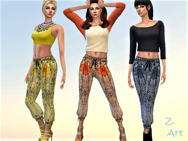 Sims 4 Retro ethno flower power pants 06 by Zuckerschnute20 at TSR