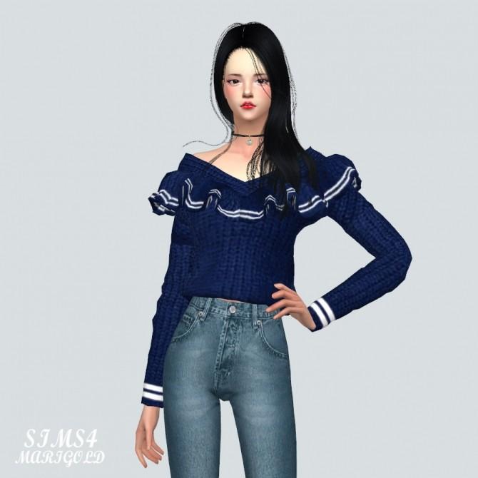 Sims 4 Frill Knit Off Shoulder Top at Marigold