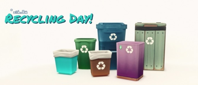 Sims 4 RECYCLING DAY bin recolors at Picture Amoebae