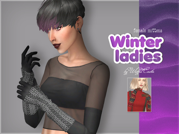 Sims 4 Winter ladies mittens by WistfulCastle at TSR