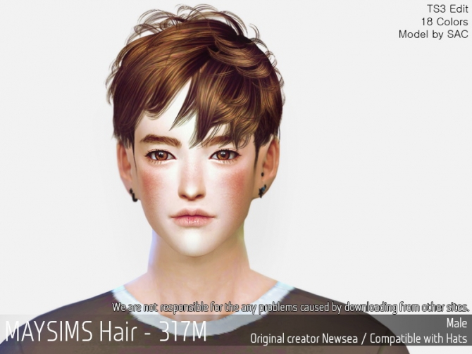Hairstyles Updates: Hair 317M (Newsea) At May Sims » Sims 4 Updates