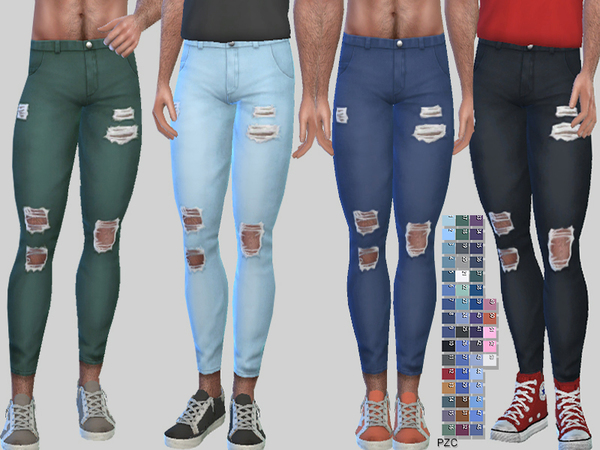 Ripped Denim Jeans Zack 010 by Pinkzombiecupcakes at TSR image 2147 Sims 4 Updates