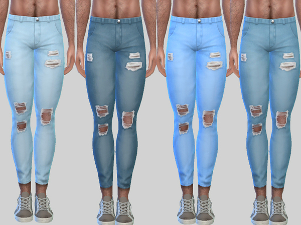 Ripped Denim Jeans Zack 010 by Pinkzombiecupcakes at TSR image 2236 Sims 4 Updates