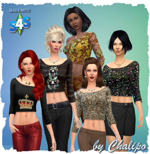 Sims 4 Festive party sweaters by Chalipo at All 4 Sims