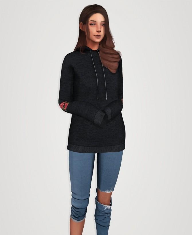 Drop shoulder long hoodie (P) at Elliesimple image 2352 670x818 Sims 4 Updates