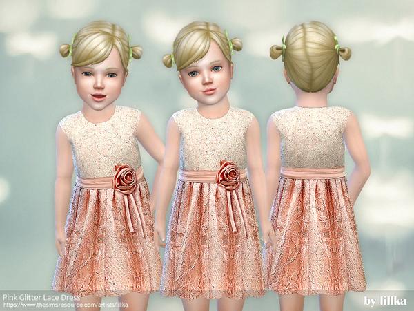 Sims 4 Pink Glitter Lace Dress by lillka at TSR