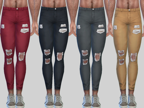 Ripped Denim Jeans Zack 010 by Pinkzombiecupcakes at TSR image 2430 Sims 4 Updates