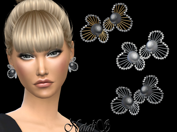 Sims 4 Diamonds and pearl flower design earrings by NataliS at TSR