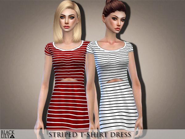 Striped T Shirt Dress by Black Lily at TSR image 2610 Sims 4 Updates