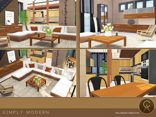 Sims 4 Simply Modern house by Pralinesims at TSR