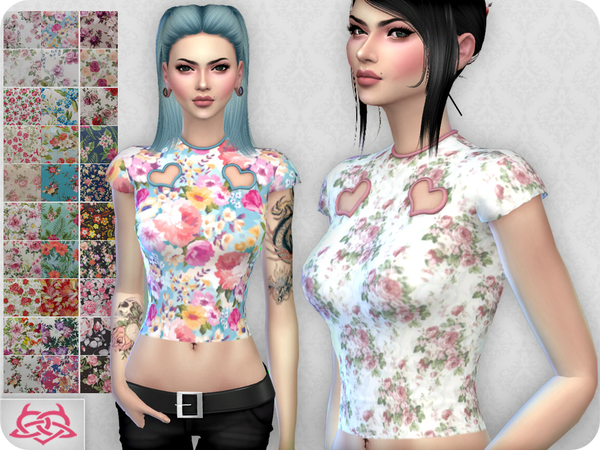 Sims 4 My love floral top by Colores Urbanos at TSR