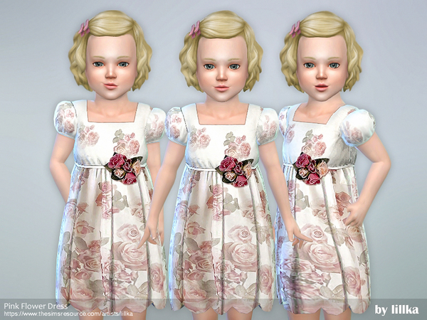 Sims 4 Pink Flower Dress by lillka at TSR