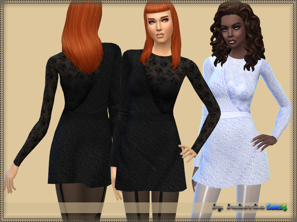 Sims 4 Dress one Sleeve Lace by bukovka at TSR